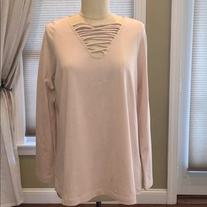 NWOT Roamans Strappy V Neck Long Sleeve Tunic